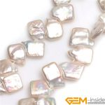 12x18mm Top Drilled White Square Nuclear Edison Pearls Beads Natural Pearl Beads DIY Beads For <b>Jewelry</b> <b>Making</b> Strand 15 Inch