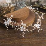 Himstory <b>Handmade</b> Flower Petal Hairband Measle Beaded Crystal Bridal Wedding Headband Women Hair <b>Jewelry</b> Floral Hair Accessories