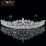 CWWZircons Elegant Marquise Cut Cubic Zirconia Flower Bridal <b>Wedding</b> Queen Crown Tiara Luxury Hair <b>Jewelry</b> For Brides A001