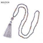 KELITCH <b>Jewelry</b> Gray Tassel Crystal Beaded Long Strand Necklace <b>Handmade</b> Beads Attractive Pendant Necklace for sale Cardboard