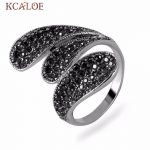 KCALOE Long Vintage Rings For Women Black Crystal Rhinestone <b>Jewelry</b> Anillos <b>Antique</b> Silver Plated Retro Big Leaf Ring Anel