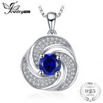 JewelryPalace luxury 1.9ct Created Sapphire Pendant <b>Necklace</b> Pure 925 Sterling <b>Silver</b> 45cm Box Chian Fine Nice Gift For Girl
