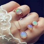 S925 <b>silver</b> inlay natural opal necklace ring <b>earrings</b> jewelry set three sets