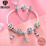 BISAER 9pcs 925 Sterling <b>Silver</b> Boy And Girl House Family Collection Women <b>Silver</b> Brand Charm <b>Bracelet</b> Fashion Bangle GXB810