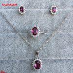 KJJEAXCMY Fine jewelry, 925 sterling <b>silver</b> inlaid natural magnesium aluminum garnet ring pendant <b>earrings</b> female models 3 sets