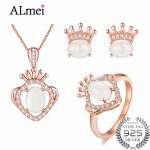 Almei Rose Gold Color Crown Jewelry Set <b>Silver</b> 925 Cubic Zirconia Pendant/<b>Earrings</b>/Ring Women Wedding Jewelry with A Box CT004