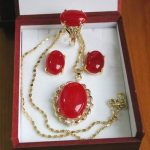 Prett Lovely Women's Wedding Fashion Red gem stone earring Pendant Necklace ring Set For Women silver <b>jewelry</b>