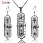 Szjinao Russia Classic Red Stone Crystal Anniversary Women's 925 Sterling <b>Silver</b> Jewelry Sets Retro Pendant <b>Earrings</b> Accessories