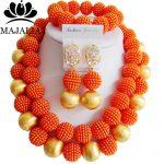 Fashion nigerian wedding african beads <b>jewelry</b> Set orange beads <b>necklace</b> bracelet earrings <b>jewelry</b> set Free shipping YJ-023