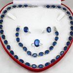 real Women's Wedding charm Charming Blue Zircon Necklace Earing Bracelet Set silver-<b>jewelry</b>