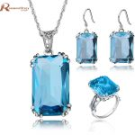 Elegant Big Square Crown Ring/<b>Earrings</b>/Pendant Blue Stone Crystal Real 925 Sterling <b>Silver</b> Jewelry Sets For Women Gift Vintage