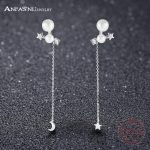 ANFASNI New Arrival 925 Sterling Silver Long Earrings For Women Luxury Pearl Top Clear Zirconia Paved Brincos <b>Wedding</b> <b>Jewelry</b>