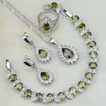 Fire Olive Green Zircon White Crystal Bridal 925 <b>Silver</b> Jewelry Sets For Women Wedding Earring/Pendant/Necklace/<b>Bracelet</b>/Ring