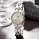 WA226 CUSSI Womens Watches <b>Silver</b> Luxury Rhinestone Ladies <b>Bracelet</b> Watches Fashion Dress Quartz Wristwatch reloj mujer Gifts