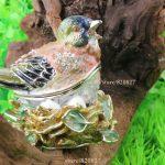 Bird Faberge Egg Rhinestone Jewerly Trinket Box Fine Pewter Bejeweled Bird Trinket Small Box Bird Faberge Box Collectible Gift