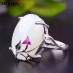 ZHHIRY Real Natural White Jade Ring Genuine Solid 925 <b>Sterling</b> <b>Silver</b> For Woman Big Jade Gemstone Rings Fine <b>Jewelry</b>