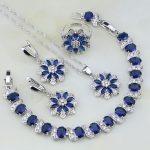 Flower Shaped 925 <b>Silver</b> Blue CZ Jewelry White Zircon Jewelry Sets For Women Wedding Earring/Pendant/Necklace/<b>Bracelet</b>/Ring