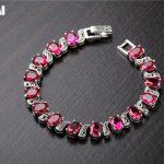925 sterling <b>silver</b> Thai <b>silver</b> red corundum <b>bracelet</b> retro fashion ethnic style