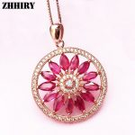 Natural Red Ruby Necklace Pendant Chain Genuine Gem Stone Women Fine <b>Jewelry</b> 925 Sterling <b>Silver</b> Sunflower