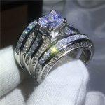 <b>Handmade</b> Princess cut 20ct AAAAA Cz Ring sets Yellow Gold Filled 925 silver Engagement Wedding Band Rings for women men <b>Jewelry</b>