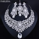 FARLENA Wedding <b>Jewelry</b> Clear Crystal Rhinestones Necklace Earrings and Frontal chain for Bride Indian <b>Jewelry</b> sets