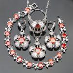 Trendy Red Cubic Zirconia White CZ <b>Silver</b> 925 Jewelry Sets For Women <b>Bracelets</b>/Earrings/Pendant/Necklace/Rings Free Jewelry Box