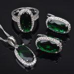 FAHOYO Elegant Green Stone Zircon Women's 925 Sterling Silver <b>Jewelry</b> Sets Earrings/Pendant/Necklace/Rings Free Shipping QZ0169