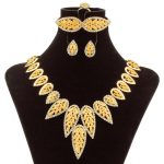 2018 Fashion Dubai Luxury Wedding <b>Jewelry</b> Sets Bridal Elegant Crystal Leaf <b>Necklace</b> Italian Women Gold Wedding <b>Jewelry</b> Sets