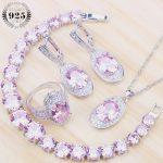 Costume Bridal <b>Jewelry</b> Sets Women Pink Cubic Zirconia Silver 925 <b>Jewelry</b> With Stone Earrings Bracelet Rings Pendant Necklace Set