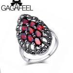 GAGAFEEL Authentic 100% 925 Sterling Silver Rings With Garnet Stone Luxury <b>Jewelry</b> Brand <b>Wedding</b> Engagement For Women Gift