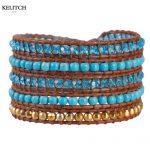 KELITCH <b>Jewelry</b> 1Pcs Trendy Brown Leather Chain Natural Stone Crystal Charm Bead <b>Handmade</b> Fashion Bracelets For Women Gifts