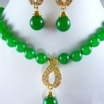 Women's Wedding set of green gem bead necklace pendant earrings>AAA GP Bridal wide watch wings que moda real silver mujer
