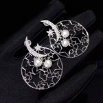 fine women jewelry natural fresh water pearl <b>earring</b> hollow out star and moon free shipping 925 sterling <b>silver</b>