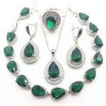 Green Zircon Costume 925 <b>Silver</b> Jewelry Sets Wedding Women Earrings With Stones <b>Bracelets</b> Necklace Rings Set Jewellery