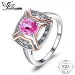 JewelryPalace Classical 1.5ct Oval Shape Pure Pink Topaz Ring 100% 925 Sterling <b>Silver</b> Wedding Fine <b>Jewelry</b> For Woman