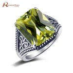 Top quality Fantastic Bohemian Ring Vintage Style Olivine Peridot Stone Cocktail Women Rings 925 Sterling <b>Silver</b> Party <b>Jewelry</b>