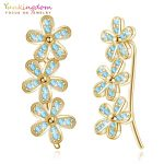 Yunkingdom 2018 New Sparkling Earring 925 Sterling Silver Flowers Crystal Earrings for Women <b>Wedding</b> <b>Jewelry</b> K5424