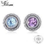 JewelryPalace Fashion 5.7ct Round Purple Amethyst Sky Blue Topaz Stud Earrings Jacket Set 100% 925 <b>Sterling</b> <b>Silver</b> Women <b>Jewelry</b>