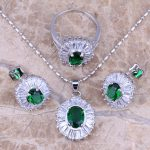 Fantastic Green Cubic Zirconia White CZ Silver <b>Jewelry</b> Sets Earrings Pendant Ring Size 6 / 7 / 8 / 9 / 10 S0117