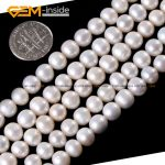 Gem-inside 7-8mm Wholesale Natural Nearround Freshwater Pearl Beads For <b>Jewelry</b> <b>Making</b> Bracelet Necklace 15inches DIY Jewellery