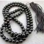 natural beads Tibetan <b>handmade</b> <b>jewelry</b> 108 Black stone Beads Buddhist Prayer Mala Necklace Mala silver