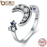 BAMOER 925 Sterling Silver Crescent Moon & Star Dazzling CZ Open Finger Ring for Women Wedding Engagement <b>Jewelry</b> Gift SCR116