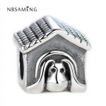 Authentic 925 Sterling Silver Bead Charm <b>Antique</b> European Dog House Beads Fit Pandora Bracelets & Bangles DIY <b>Jewelry</b>
