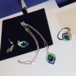 Brand Pure 925 Sterling <b>Silver</b> Jewelry Set For Women Peacock Color <b>Necklace</b> Earrings Set Cubic Zirconia Green Eyes Party Jewelry