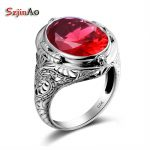 Szjinao 925 Sterling <b>Silver</b> Big Rings For Women With Red Rose Stones Ruby Alibaba-express Vintage Fine <b>Jewelry</b>