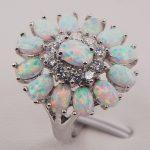White Fire Opal Australia 925 Sterling <b>Silver</b> Woman <b>Jewelry</b> Ring Size 6 7 8 9 10 11 F577