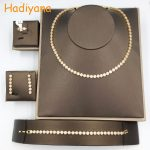Hadiyana AAA Cubic Zirconia Round Shape 4pcs Set Classic <b>Jewelry</b> Set, Color Guaranteed Dubai <b>Wedding</b> Bridal Set for Party CN180