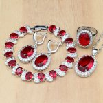 Natural 925 Silver Party <b>Jewelry</b> Sets Red Stone Beads Decoration For Women Earrings/Pendant/Ring/Bracelet/<b>Necklace</b> Set