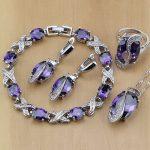 925 Sterling <b>Silver</b> Bridal Jewelry Purple Zircon White CZ Jewelry Sets For Women Earrings/Pendant/Necklace/Rings/<b>Bracelet</b>