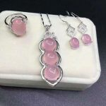yu xin yuan Fine Jewelry Natural 925 <b>Silver</b> Pink Jade Medullary Ring Pendant <b>Earrings</b> Jewelry Sets Women Jewelry